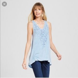Knox rose Blue Crochet floral distressed tank
